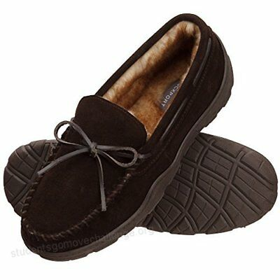 $97 ROCKPORT Men BROWN MOCCASIN LEATHER SLIP-ON HOUSE OUTDOOR SLIPPERS SHOE 12