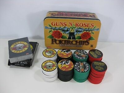 Rare Guns N ' Roses Poker Chips and 1 Deck of Unopened Cards in Tin Bravado 2005