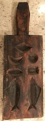 Large Very Early Primitive Folk Art Springerle Cookie Mold Fishing Theme 19th C.