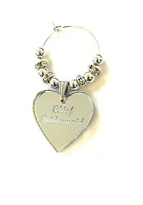 Personalised Wedding Table Decoration Silver Glass Charms Favours Keepsake Hen