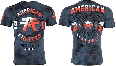 American Fighter Mens S/S T-Shirt SILVER LAKE Navy Blue Crystal Wash S-3XL $40