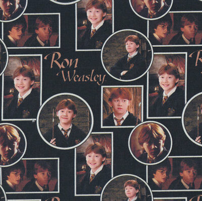Harry Potter Ron Weasley on Black Digitally Printed Licensed Fabric FQ or Metre