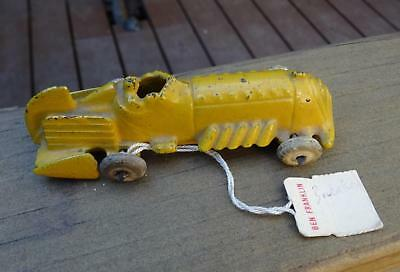 """1930s YELLOW VTG ANTIQUE DIE CAST IRON HUBLEY RACE CAR ROADSTER 3.75"""" DRAGSTER"""