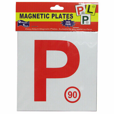 Red P Plate Plates  Magnetic Car Driver Driving License 90 Speed Limit 2 Pcs