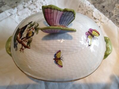 "Herend ""rothschild Bird"" Covered Bon-Bon  With Butterfly Lid"