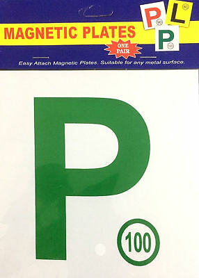 Green P Plates Plate Magnetic Car Driver License 100 Speed Limit 2 Pcs