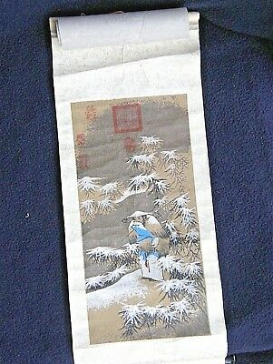 Cathay Pacific Airlines 1940/50's Menu w Souvenir Art Scroll Fishing in Snow Vtg
