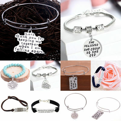 Inspiration Rope Leather Bracelet Bangle Jewelry She Believe She Could She Did