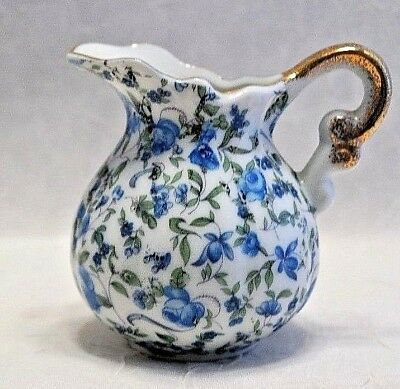 Sweet Royal Chintz Mini Pitcher, #2179, Blue Rose Design  10/19*150 ~