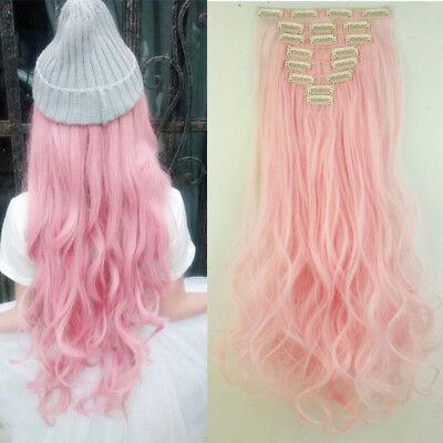 Light Pink Curly Full Head Clip in Hair Extensions Hight Quality Synthetic Hair