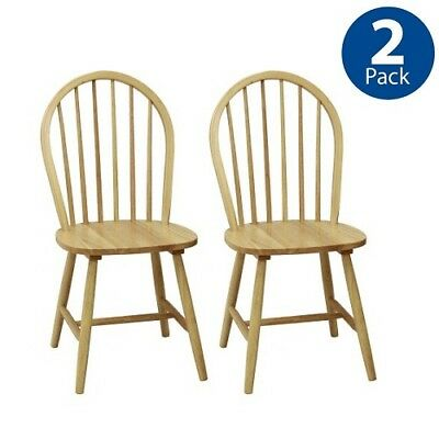 Chair Set of 2 Durable Natural Wood Dining Room Furniture Kitchen Chairs NEW