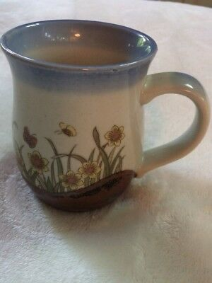 Light Blue and Brown Pottery Coffee/Tea Mug with Yellow flowers and Butterflies