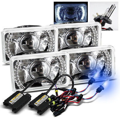 4 Hi/Low Set 4x6 H4651/4656 White LED Projector Headlights/10000K H4-2 Xenon HID