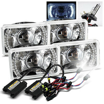 (2 Sets) 4x6 Chrome Semi-Seal White LED Projector Headlight/6000K H4-2 Xenon HID
