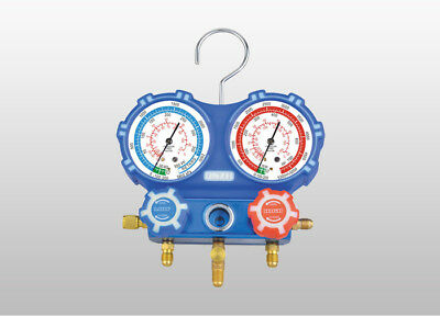 "2 Way R32-R410a-R22-R134a Manifold Gauge with Adaptors - 60"" Charging Hose"