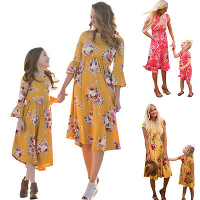 Mother Daughter Floral Dress Mommy & Me Family Matching Outfits Clothes Dresses