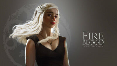 Game Of Thrones Daenerys Targaryen Silk Poster Wallpaper 24 X 13 Inches