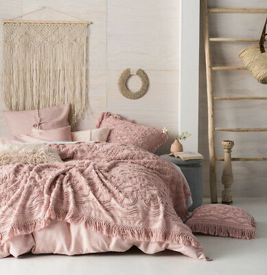 Linen House Somers Rose Queen King Coverlet Bed Cover |100% Cotton Chenille