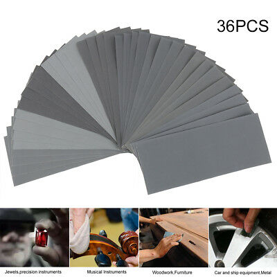 36PCS SANDING SHEETS Wet/Dry Silicon Carbide Waterproof Sandpaper Grits 9x3.6''
