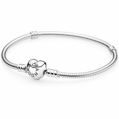 "Authentic Pandora Silver Charm Bracelet w/ Heart Clasp 590719 -17cm/ 6.7"" W/ BOX"