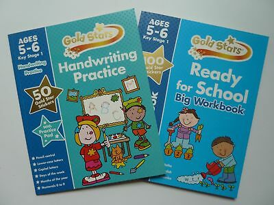 Phonics Maths English Handwriting Gold Stars Workbooks Kids Age 5-6 Year KS1 New