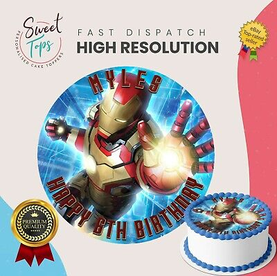 IRON MAN Edible Round Birthday Cake Topper Decoration Personalised