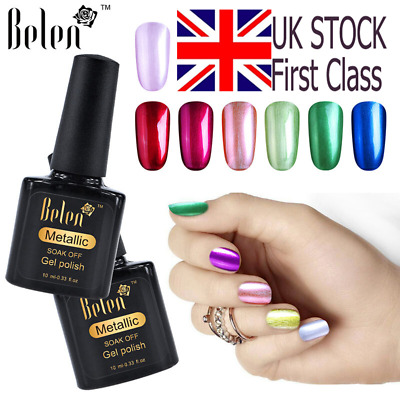 Belen Metallic Gel Nail Polish Soak Off LED Metal Base Top Coat Reinforce