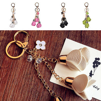 PU Leather Tassel Rose Flower Pendant Charms Key Chain Bag Accessories Gifts !