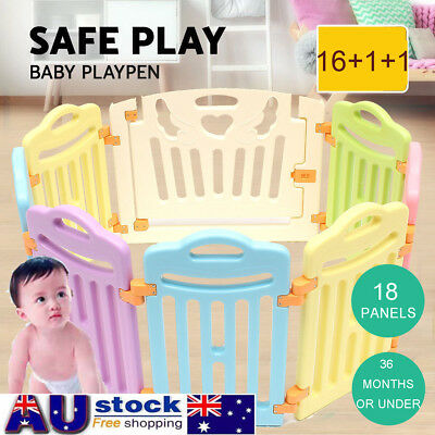 18 Sided Panel Baby Playpen Interactive Kids Toddler Room w/ Safety & Game Gate