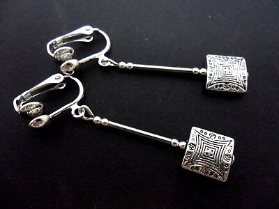 A Pair Of  Tibetan Silver   Long Dangly Clip On Earrings. New.