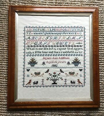 Antique Style Late 20th Century Produced Framed Tapestry Sampler 2