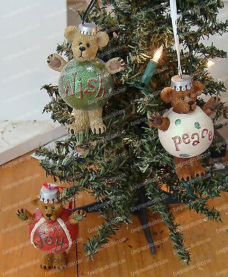 Boyds Bear Christmas Ornament's (Peace, Wish, Joy) Plump, Waddle (Enesco, 2009)