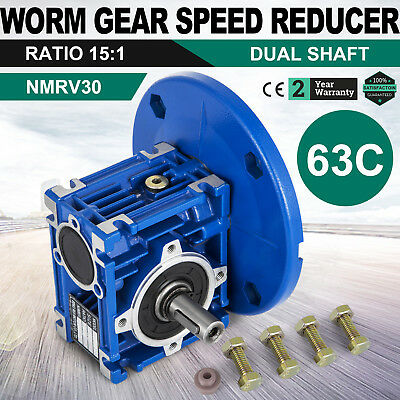 Worm Gear 15:1 63C Speed Reducer Gearbox Dual Output Shaft New 0.38HP Unique