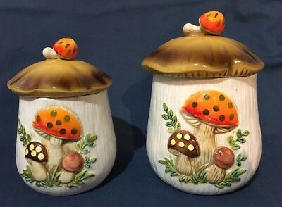 Vintage 1978 Sears Roebuck MERRY MUSHROOM Kitchen Canister Set of 2 Smallest