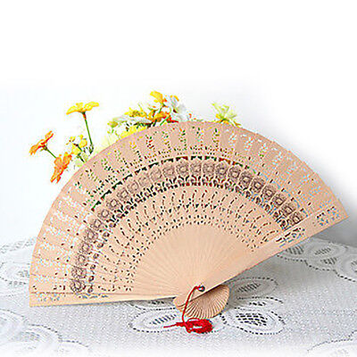FT- Vintage Folding Fan Chinese Traditional Bamboo Wooden Fragrant Hand Fan Eyef