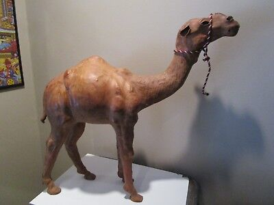 "19"" Vintage Dromedary Camel Leather Huge Leather Wrapped Leather Camel 19"" TALL"