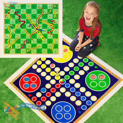 Set of Giant Snakes & Ladders and Ludo Twin Play Mats Traditional Family Games