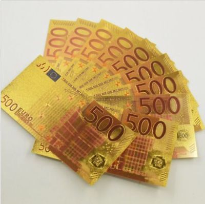 500 Euros GOLD Plated-Banknote 500 Euros Plated in 24K Gold Great Gift Free POST
