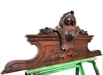 Flower Coat Of Arms Pediment Antique French Hand Carved Wood Salvage Panelling