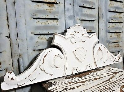 White Shabby Painted Pediment Antique French Hand Carved Wood Salvaged Crest
