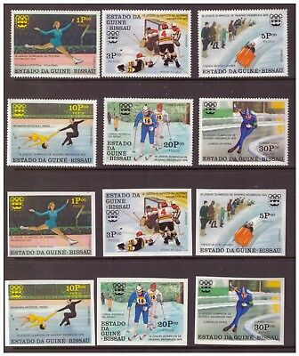Guinea Bissau MNH 1976 Winter Olympic Games 2 sets imperf.&perf. mint  stamps