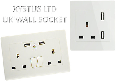 Wall Socket with USB 2100mA 2 Gang 13A High Quality (White, Silver & Black)