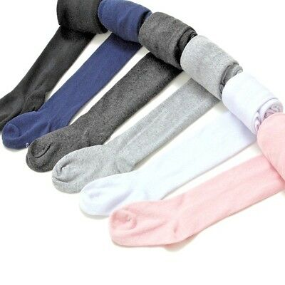 Girls Cotton Rich School Tights 0-5 Year Black, Light Grey, White Navy and Pink