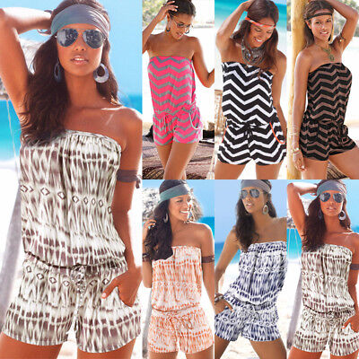 UK Womens Holiday Mini Playsuit Bikini Cover Up Jumpsuit Summer Beach Dress 6-16