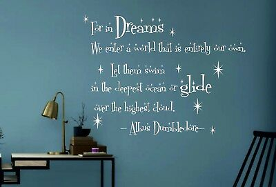 Wall Stickers Custom Dumbledore in Dreams Harry Potter Wall Decal Quote Fantasy