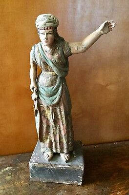 19th Century Carved Polychrome Wood Santos Figure, Architectural Salvage