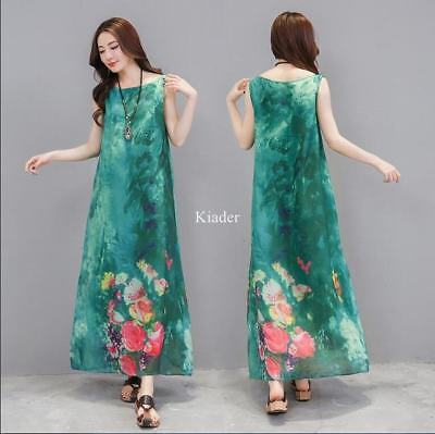 Chinese Style Ladies Full Length Dress A-Line Sleeveless Floral Printed New Coat