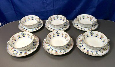 Bernardaud Limoges Chateaubriand Porcelain Set 6 Soup Cup & Saucer NEW - 50%