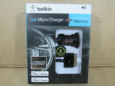 Belkin Micro Auto USB Car Charger with 30 Pin Apple Charge/Sync Cable