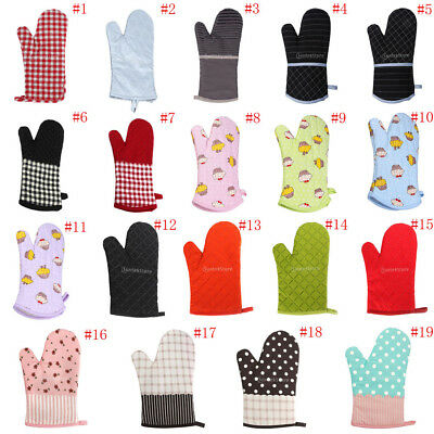 Kitchen Heat Resistant Pot Holders Cotton Insulating Gloves Oven Cooking Mitts